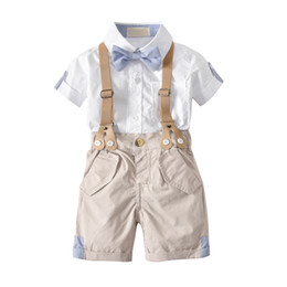 tie downs NZ - 2018 New Arrival Boys Clothing Set Kids White T-shirt with Bow Tie and Suspender Shorts Formal Children Clothes