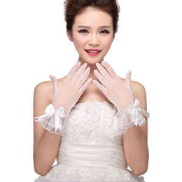 White Shorts Australia - Women White Wedding Bridal Short Gloves Full Finger See Through Ribbon Bowknot Decor Wrist Length Costume Prom Party Solid Color
