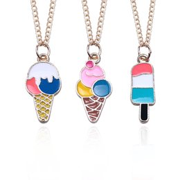 $enCountryForm.capitalKeyWord Australia - DIY Cute Food Choker Necklace For Women Colorful Ice Cream Pendant Gold Chain Necklaces&Pendants Christmas Gift Drop Shipping