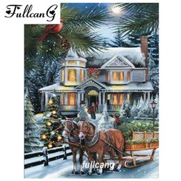 Snow houSe painting online shopping - FULLCANG diamond embroidery snow house and horse diy diamond painting cross stitch full square drill mosaic d needlework G261