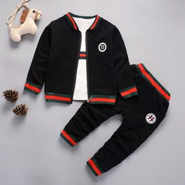 Wholesale Good hot sale New autumn spring baby boys girls clothes baby tracksuit brand sport sets zipper Jacket t shirt pants suits Y18102407
