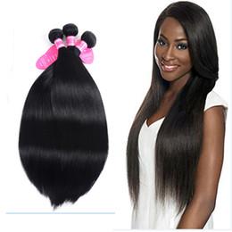 hair jet black 26 inches 2019 - Straight Human Hair Weave Weft Brazilian Hair 3 Bundles Unprocessed Virgin Hair Extensions Jet black(1#) discount hair j