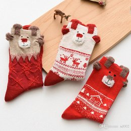 Foot Socks Cartoon NZ - Fashion Cute Soft Texture Socks Printed Pattern Santa Claus Elk Cartoon Stockings Merry Christmas Men And Women Whole Cotton 3 9cs jj