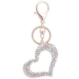 Heart Shaped Handbags Wholesale Canada - Loving Heart Shape Keychain Crystal Metal Keychain Keyring Car Keychains Purse Charms Handbag Pendant Wedding Gift
