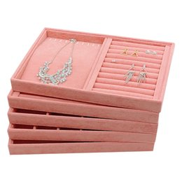 display trays for jewelry UK - Pink Velvet Jewelry Display Tray without Lid Ring Necklace Earrings Lattice Trays for Jewellery Showcase Kiosk Accessories Organizer 35*24cm