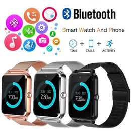 Battery Slot NZ - Z60 Bluetooth Smart Watch Slot and NFC Health Watchs for Android phone Smartphone Bracelet Smartwatch SIM Phone 3 Colors AAA1343