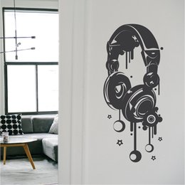 Musical Art Australia - Unique Headphones Pattern Wall Decals Home Art Fashion Style Decor Wall Stickers Musical Headphone For Teens Room Decor