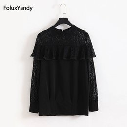 Discount long sleeve ruffled lace blouse - Ruffles Lace Blouse New 2018 Spring Summer Casual Plus Size 3 4 5 6 XL Women Long Sleeve Blouse Black KKFY1179