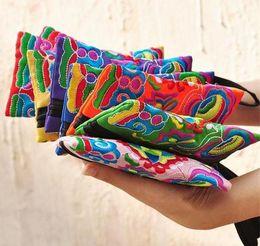 Wholesale Wrist Zipper Wallet Australia - National Style Women Clutch Bag Contrast Color Embroidery Handbag Wrist Strap Elegant Small Mini Mobile Phone Bag Wallet Unique Design