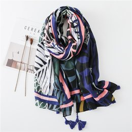 bohemian cotton shawl scarf NZ - Fashion Spring summer Scarves Women Tropical Pink leaves print cotton linen Shawl Scarf Vacation bohemian sunscreen beach Towel long Wraps
