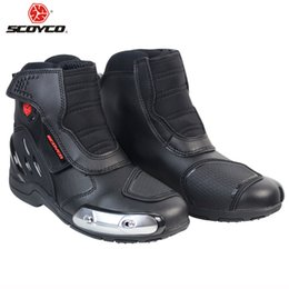 bikers boots UK - SCOYCO Motorcycle Boots Stivali Botas Moto Motosiklet Bot Mens Biker Shoes Motociclista Bottes Racing P40223 Mens Shoes