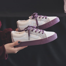 InsIde fashIon desIgn online shopping - Canvas Shoes Woman Winter New Short Plush Inside Lace Up Mixed Color Female Sneakers Fur Lined Fashion Design Size