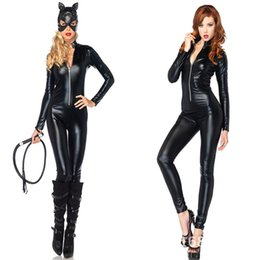 wild woman costume 2019 - Black Gothic Punk Sexy Faux Leather Catsuit Costume Front Zip With Hat Mask For Woman Man Wild Halloween Party Dress Siz