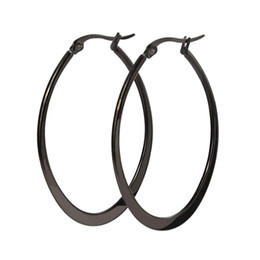 Plain earrings online shopping - Women s Flattened Polish Finished Stainless Steel Plain Big Hoop Earrings
