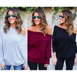 $enCountryForm.capitalKeyWord Australia - Plus Size S~XL Fashion Casual Off Shoulder Sexy Batwing Sleeve Loose Pure Color Pullover Jumper Knitting Women Sweater Tops