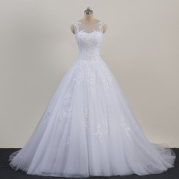 Wholesale Original Photo Lace Plus Size Wedding Dresses Sheer Neck Lace up Tulle Long Vestido De Noiva China Bridal Gowns Formal Occasion