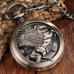 Unique Watches For Men Australia - 1 Pcs Vintage Unique Bronze Horse Pegasus Full Steel Necklace Pendant Fob Chain Hand-Winding Mechanical Pocket Watches For Women Men