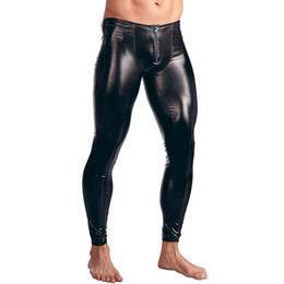 Mens Tight Leather Trousers UK - Mens Patent Leather Pants Zipper Bulge Pouch Tight Shinny Leggings Trousers Underwear Clubwear Party Sexy Leotard Costumes