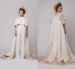d2b098f88410 Formal Saudi Arabic Jumpsuit Evening Dresses Jewel With Long Jacket Prom  Dresses Lace Applique Beaded Custom Saudi Arabic Party Gowns 2018