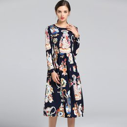 Chinese  2018 Autumn Women's Runway Dresses O Neck Long Sleeves Printed Floral Fashion Elegant Casual Dresses manufacturers