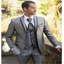 Flat Angle NZ - Custom men's suit three-piece suit (coat + pants + vest) men's two buckle flat angle collar suit wedding groom dress men's business dress