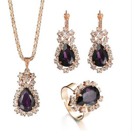China Fashion Wedding Gift Jewelry Gold Color Water Drop Shape Crystal Earrings Necklace Adjustable Rings Set Women Jewelry Sets suppliers