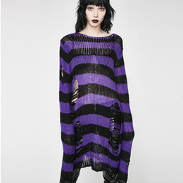 16c261e5f826b Gothic Sweaters UK - Women Striped Gothic Hole Pullovers Sweaters Femme  Hollow Out Long Length Broken