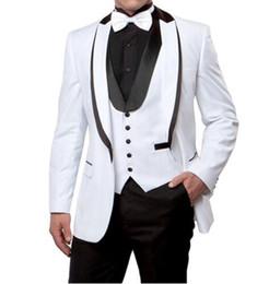 China New Arrivals One Button White Groom Tuxedos Peak Lapel Groomsmen Best Man Mens Wedding Suits (Jacket+Pants+Vest+Tie) D:145 cheap mens wedding suits white blue suppliers