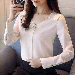 $enCountryForm.capitalKeyWord NZ - Korean V-neck Long Sleeve Blouse Elegant White Chiffon Shirts Casual Tops Underwear Autumn New Women Blouses