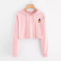 Wholesale pineapple hoodie online – oversize Oversize Autumn Harajuku Sweatshirt Hoodies Women Streetwear Pineapple Appliques Kpop Crop Top Hoodie Korean Style Clothes