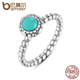 bubble stone Australia - BAMOER Birthday Blooms Ring December Stone Stackable Bubble Ring 100% 925 Sterling Silver Jewelry PA7162 S18101607
