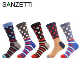funny christmas socks 2019 - SANZETTI 5 pair lot Men's Colorful Dot Funny Socks Combed Cotton Crew Socks Casual Long Christmas Gift cheap funny