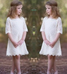 Royal Wedding Pictures NZ - Lovey Full Lace Flower Girls Dresses For Wedding Half Sleeves Knee Length Short Holiday Dress Birthday Party Dress