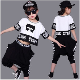 $enCountryForm.capitalKeyWord NZ - Big Girls Summer Casual Clothing Sets Children Short Sleeve T-shirt+Loose Harem Pants 2pcs Set Kids Outfits Girl Suit 100-140cm 5sets lot