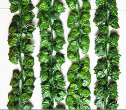 Discount grape vine wall Long Artificial Plants Silk Leaf Grape Ivy Vine Foliage Leaves Outdoor Indoor ome Wedding Decoration