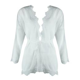 $enCountryForm.capitalKeyWord UK - Sexy Women Sheer Mesh Summer Top Patchwork Lace Trim Waist Belt Holiday Beach Wear Solid Sunproof Kimono Cardigan Blouse White