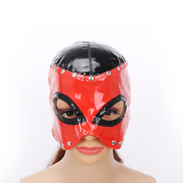 Discount adult cat masks MaryXiong Red PU Leather Blindfold Adult Games BDSM Flirt Sex Toys Sexy Eye Mask Masquerade Cat Eye Party Club Coslay My