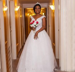 Wedding Dresses Plus Size Girls NZ - 2018 African Black Girls White Simple Wedding Dress With Lace Applique Sleeveless Country Garden Bridal Gown Custom Made Plus Size