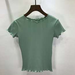Cropped Tees Australia - Tees Women ruffled Shirt Trimmings Ribbed Crop Tops Solid Fashion Short Sleeve Soft And Stretchy Short T-shirt Female Crop Tops