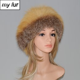 Discount fox fur fluffy - Winter Outdoor Russian Women Real Fox Fur Beanies Hat Fluffy Warm Thick Genuine Fox Fur Cap Ladies Natural Earflap Hats