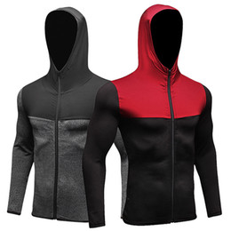 China 2018 NEW Mens Running Jackets Fitness Sports Coat Soccer outdoor Training Gym corset hooded Thin Quick Dry Reflective zipper suppliers
