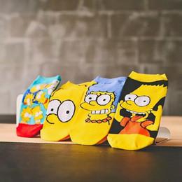 Family Socks NZ - Socks wholesale 4Pairs Lot Summer Women Children Eur34-38 Cartoon Cute Funny Cotton Socks Simpsons Family Novelty Boat Socks