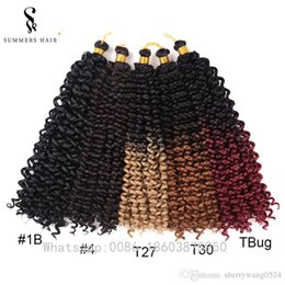 freetress hair weave UK - Summershair Freetress Synthetic 16inch Ombre Color Weave Hair Extensions Crochet Braids Latch Hook For African Women