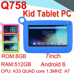 A33 Quad Core Tablet Australia - Q758 Kids Brand Tablet PC Quad Core Children Tablet Android4.4 512MB 8GB A33 Google Player Camera WIFI Speaker Protective ECPB-7 50 Packs