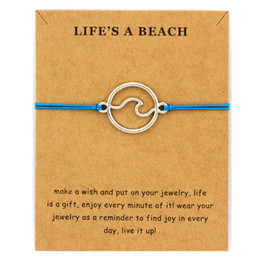 Discount surf jewelry - Ocean Waves Beach Nautical Surfing Adjustable Bracelets Antique Silver Sea Turtle Charms Women Men Boys Girls Unisex Jew