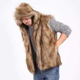 China Winter Thicken Warm Men Hairy Faux Fur Vest Hoodie Hooded Waistcoats Sleeveless Pockets Coat Outerwear Jackets Plus 3X 6Q2041 cheap 3x men suppliers