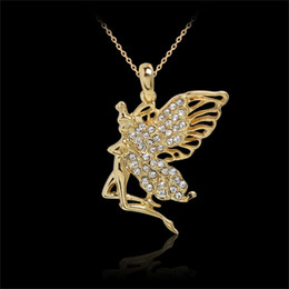 Gold plated anGel chain online shopping - Hip Hop Jewelry Christmas Gift Girl Rhinestone Angel Necklace For Women Gold plated Enamel Crystal Long Sweater Gold Chain Necklaces