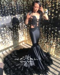 $enCountryForm.capitalKeyWord Australia - Sexy Black Girls Mermaid Feather Prom Dresses 2K18 Plus Size Vintage Lace Illusion African Arabic Girls Formal Graduation Prom Party Gowns