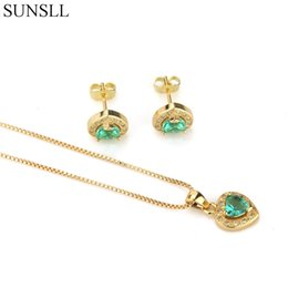 Copper Earrings Australia - SUNSLL Golden Color Copper Multicolor Crack Cubic Zirconia Stud Earrings And Pendant Necklaces Women's Fashion Jewelry Sets