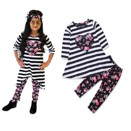 Floral Print Shirts Baby Australia - 2pcs set Cotton Autumn Baby Girl Clothing Sets Stripe Love Long Sleeve T-shirt + Floral Print Pants Girls Two-piece Set